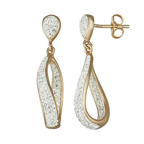 Chrystina Silver Plated Crystal Dangle Drop Earrings