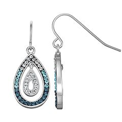 Chrystina Silver Plated Crystal Double Teardrop Earrings