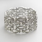 Trifari Silver Tone Simulated Crystal Stretch Bracelet