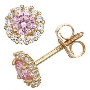 Charming Girl 14k Gold Birthstone Cubic Zirconia Halo Stud Earrings