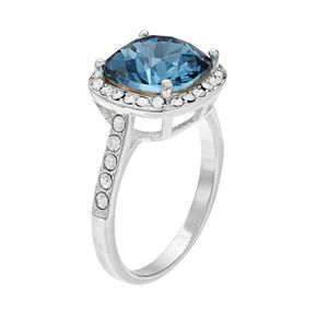 Brilliance Silver Tone Halo Ring with Swarovski Crystals