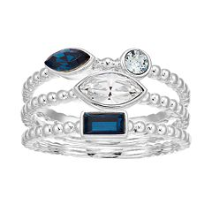 Brilliance Triple Row Blue Cluster Ring with Swarovski Crystals