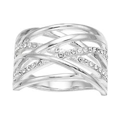 Brilliance Silver Tone Crisscross Ring with Swarovski Crystals