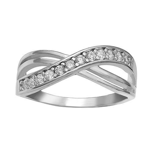PRIMROSE Sterling Silver Cubic Zirconia Wrap Ring