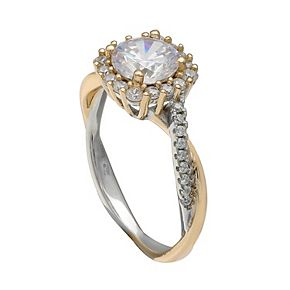 Primrose Sterling Silver Cubic Zirconia Halo Ring