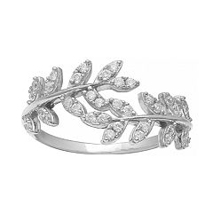 Primrose Sterling Silver Cubic Zirconia Leaf Ring