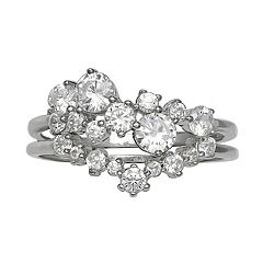 Primrose Sterling Silver Cubic Zirconia Cluster Double Band Ring