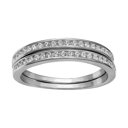 Primrose Sterling Silver Cubic Zirconia Double Band Ring
