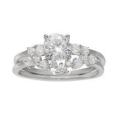 Primrose Sterling Silver Graduated Cubic Zirconia Double Band Ring