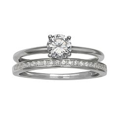 Primrose Sterling Silver Double Band Cubic Zirconia Ring