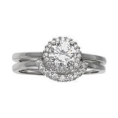 Primrose Sterling Silver Cubic Zirconia Double Band Halo Ring