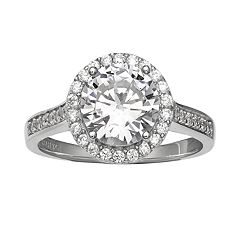 Primrose Sterling Silver Cubic Zirconia Oval Halo Ring