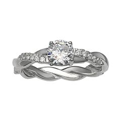 Primrose Sterling Silver Cubic Zirconia Twist Band Ring