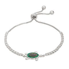Silver-Plated Crystal Turtle Lariat Bracelet
