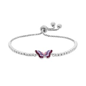 Silver-Plated Crystal Butterfly Lariat Bracelet