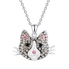Crystal Gray Cat Pendant Necklace