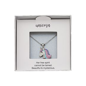 Silver-Plated Crystal Unicorn Pendant Necklace