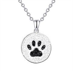 Silver-Plated Crystal Paw Print Pendant Necklace