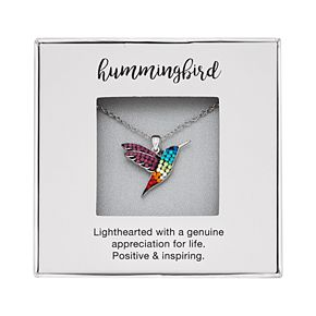 Silver-Plated Crystal Hummingbird Pendant Necklace