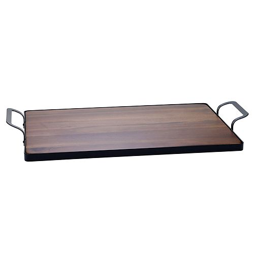 Certified International Acacia Wood Tray with Metal Frame