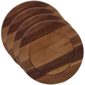 Certified International Acacia Wood 4-pc. Chargers Set