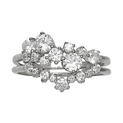 Primrose Sterling Silver Cubic Zirconia Double Band Cluster Ring