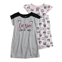 7c3dfa5a538 Toddler Girl Cuddl Duds 2-pack Kitty Cat Naps Dorm Nightgowns. sale