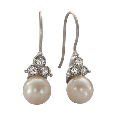 Trifari Silver-Tone Simulated Pearl Drop Earrings