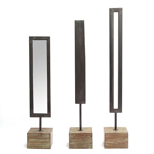 Stratton Home Decor Mirrored Modern Table Decor 3-piece Set