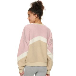 Juniors' Cloud Chaser Chevron Stripe Long Sleeve Pullover Sweatshirt