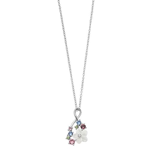 Brilliance Mother of Pearl Flower Infinity Pendant with Swarovski Crystals