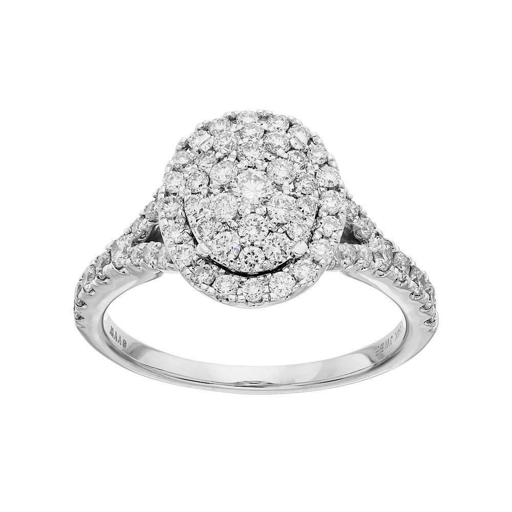 Simply Vera Vera Wang 10th Anniversary 14k White Gold 1 ct. T.W. Diamond Cluster Engagement Ring