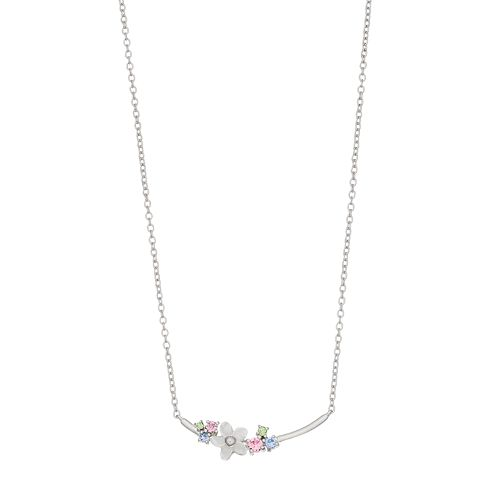 Brilliance Mother of Pearl Flower Necklace with Swarovski Crystals