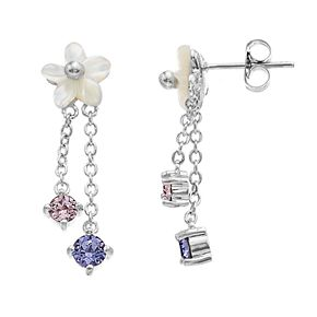 Brilliance Flower Double Drop Earrings with Swarovski Crystals