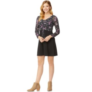 Juniors' WallFlower Skater Dress with Ruched Front Topper