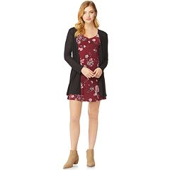 Juniors' Wallflower Ruched Neck Dress with Cardigan