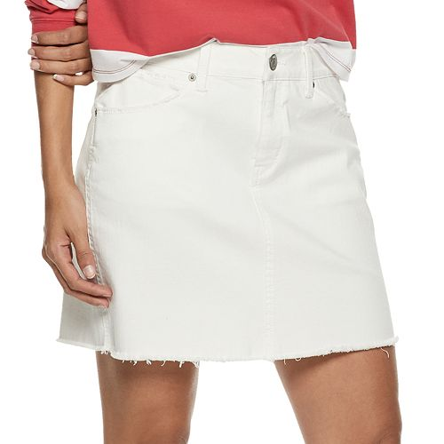 Juniors' Mudd® 5-Pocket Frayed Hem Twill Skirt