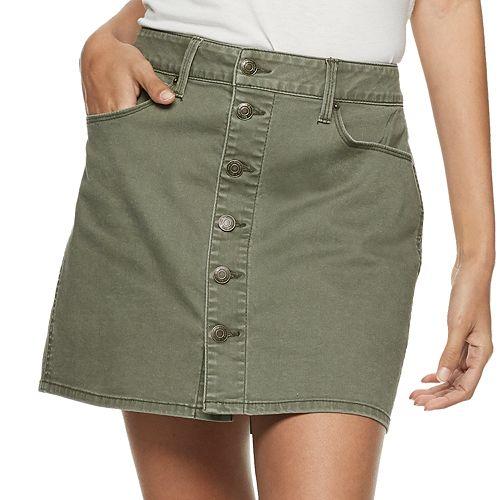 Juniors' Mudd® Button Front Distressed Twill Skirt