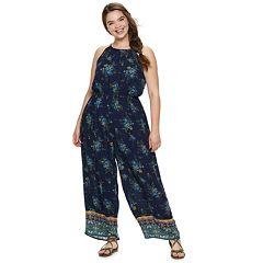 554ce681aa69 Juniors  Plus Size Mudd® High Neck Patterned Jumpsuit