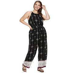 Juniors' Plus Size Mudd® High Neck Patterned Jumpsuit