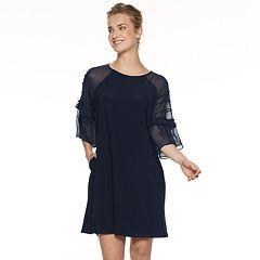 Women's Nina Leonard Pleated Chiffon-Sleeve Dress