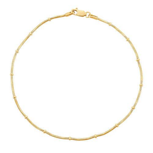 14k Gold Over Silver Snake Chain Anklet
