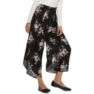 Juniors' American Rag High-Waisted Tie-Front Floral Soft Pants