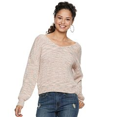 Juniors' American Rag V-Neck Twist Back Sweater