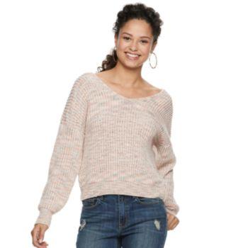 Juniors' American Rag V-Neck Twist Back Sweater