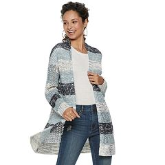 Juniors' American Rag Open Stitch Striped Cardigan