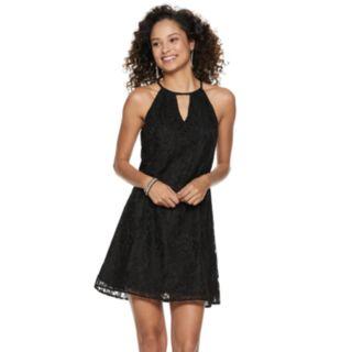 Juniors' Candie's® Pleated Halter Swing Dress