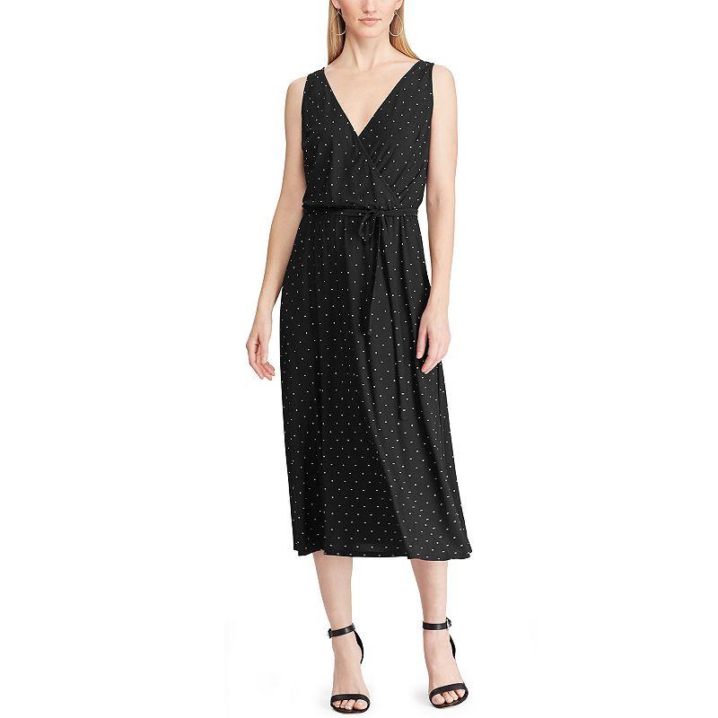 Women's Chaps Sleeveless V-Neck Dress, Size: XS, Black