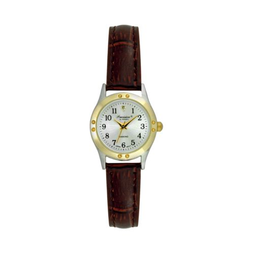 Precision by Gruen Brown Faux-Leather Diamond Accent Watch - Women