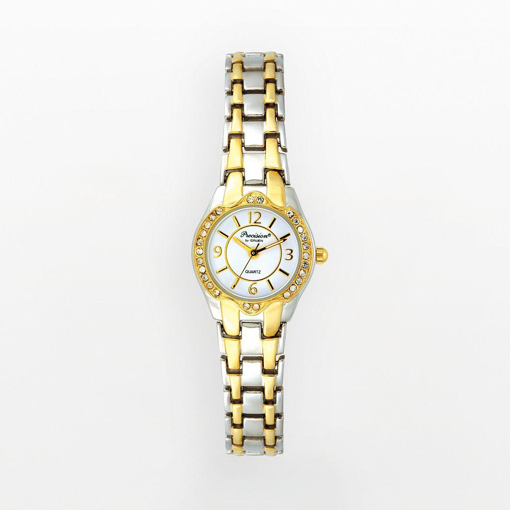 Precision by Gruen Women's Crystal Two Tone Watch